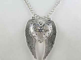 Angel wing heart locket necklace