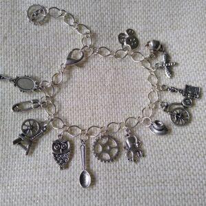 steampunk silver charm bracelet