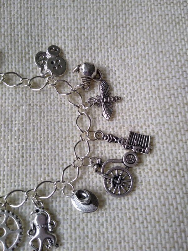 steampunk siler charm bracelet
