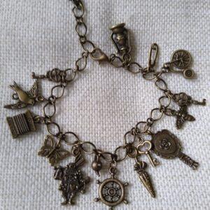 Steampunk bronze charm bracelet.