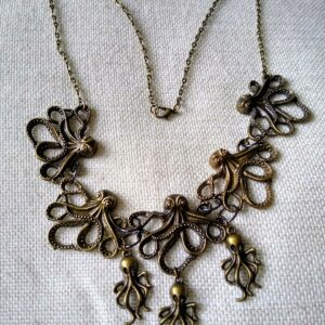Bronze steampunk octopus Necklace