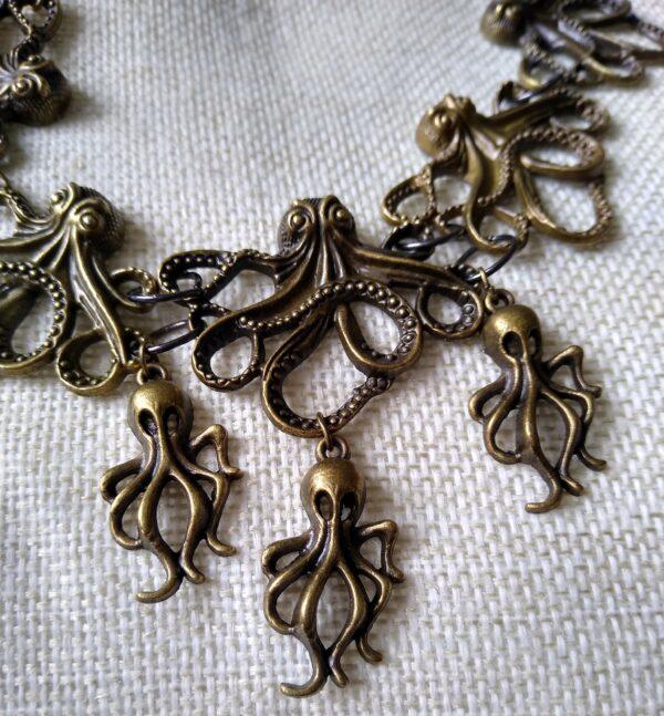 Bronze steampunk octopus Necklace