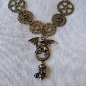 Steampunk Dragon and Skull Necklace