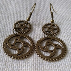 Steampunk double cog earrings