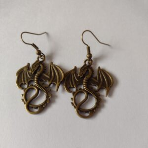 bronze dragon earrings