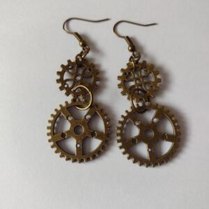 double cog earrings