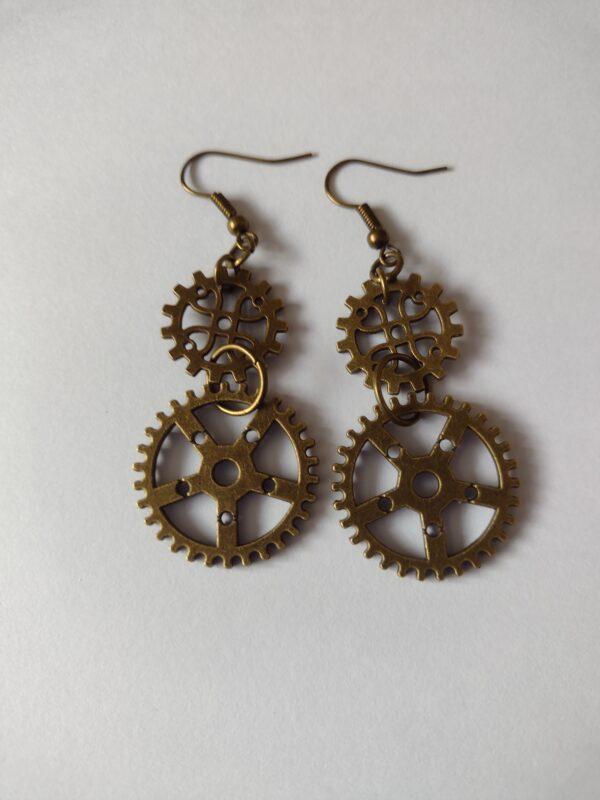 double cog earrings