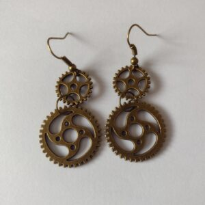 bronze cog earrings