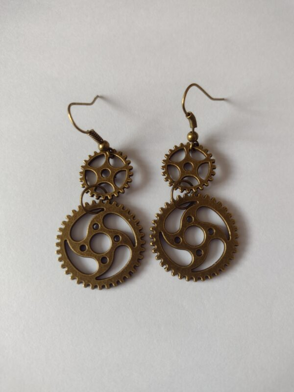 bronze cog earrings