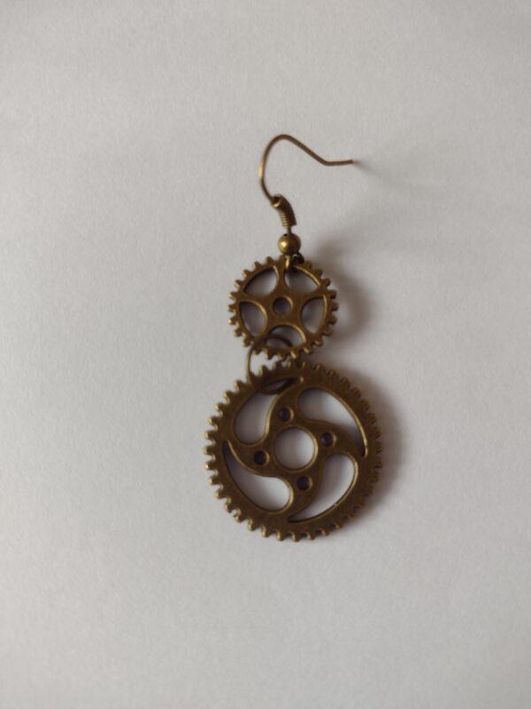 bronze cog earring
