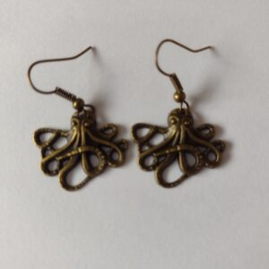 bronze octopus earrings