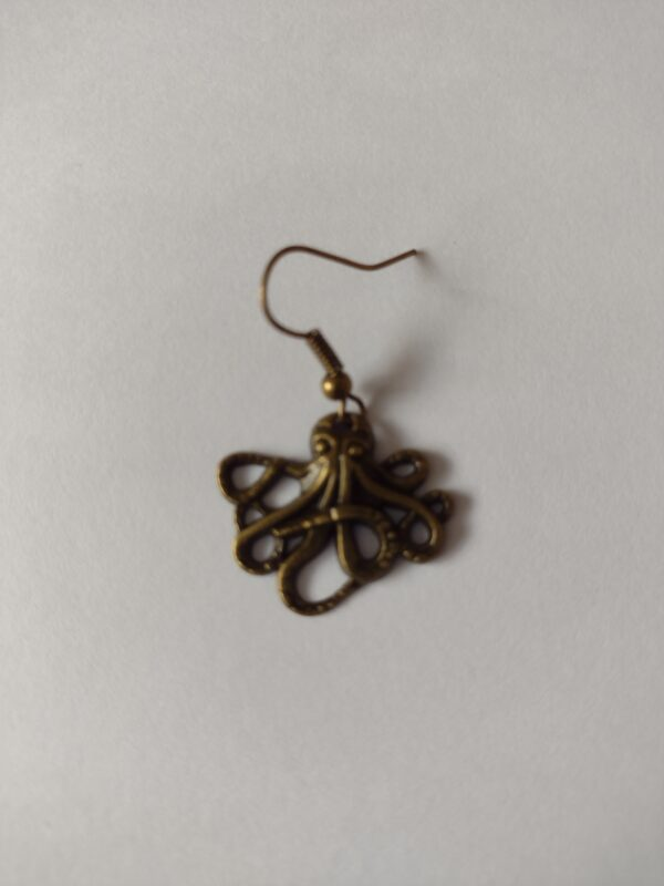 single bronze octopus earrings