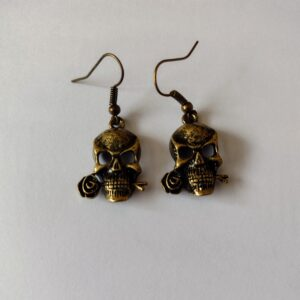bronze skull earrings
