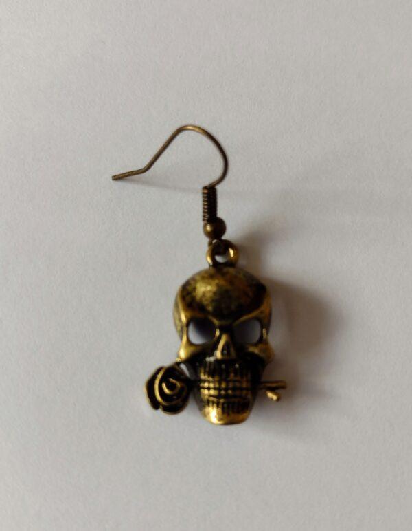 Handmade Bronze Skull and Rose Earrings