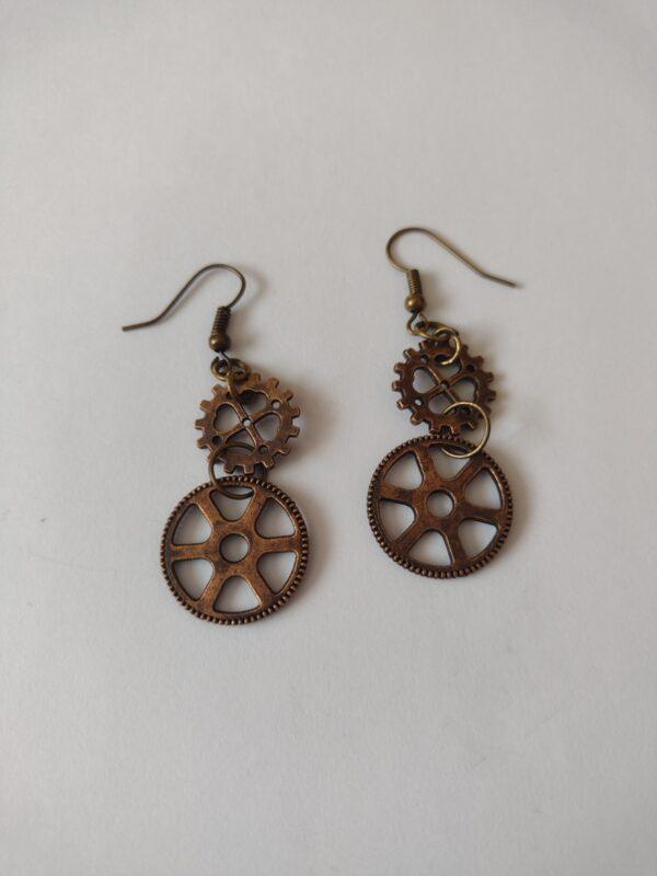 red copper cog earrings