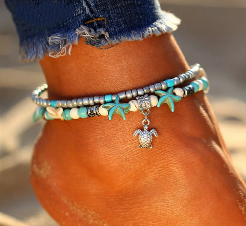 turtle ankle bracelet on