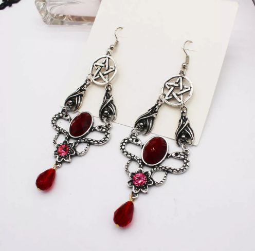 red gothic earrings