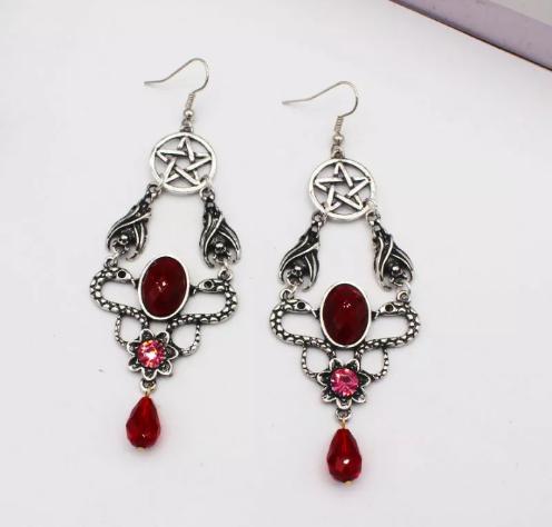 red alternative earrings