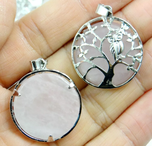 rose quartz pendant front and back