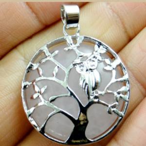 rose quartz owl pendant