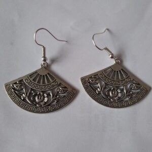 silver fan earrings