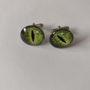 green eye cufflinks