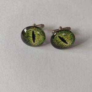 green eye cufflinks