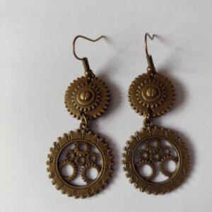 Handmade Bronze Steampunk 2 Cog Earrings