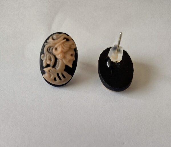 Handmade Gothic Skull Lady Cameo stud earrings blue and pink
